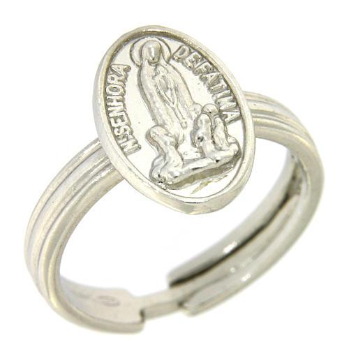 Bague argent 800 rhodiée Notre Dame de Fatima 1