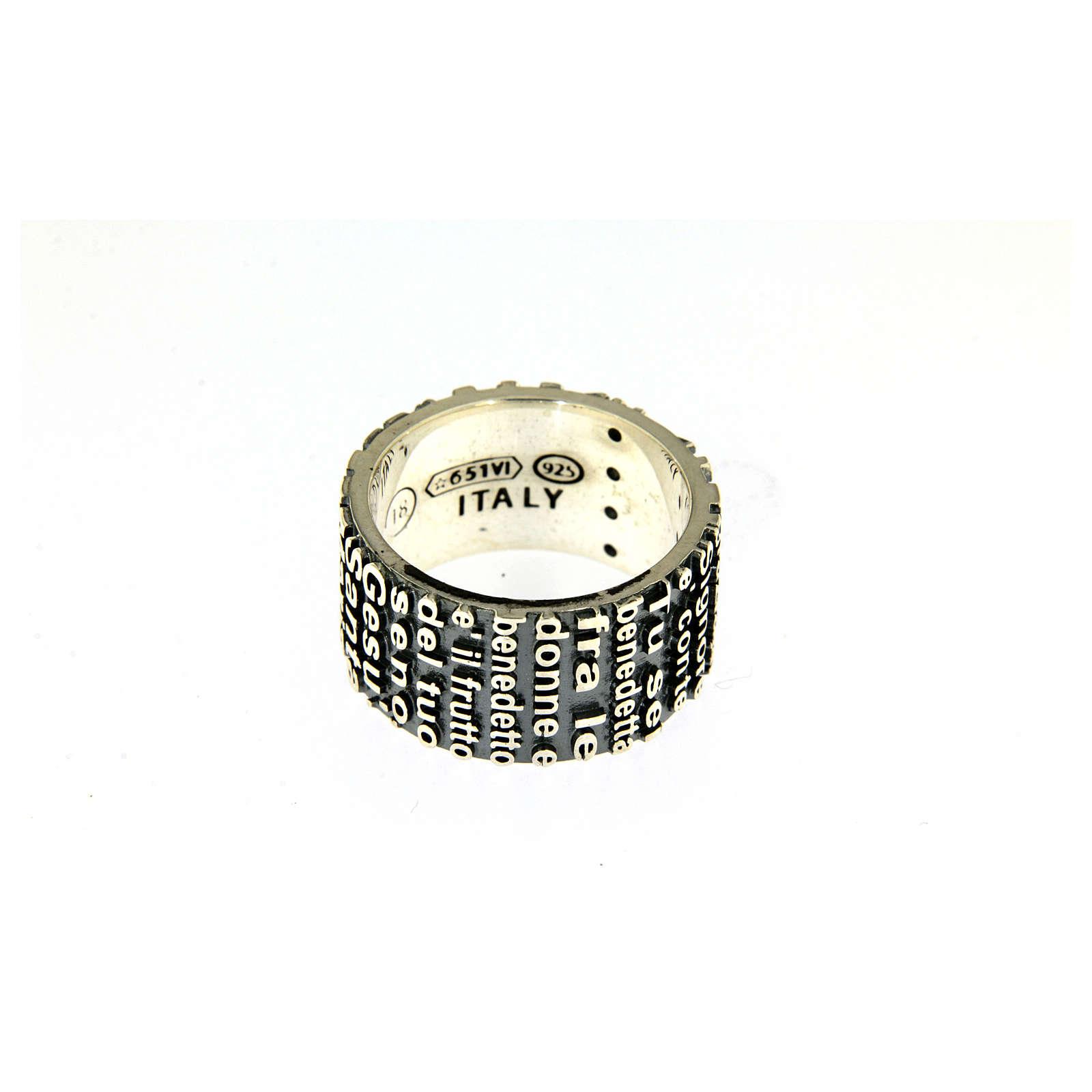 Anel prata 925 radiada brunida AMEN com oração Ave Maria ITA 3