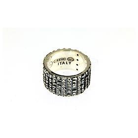 Anel prata 925 radiada brunida AMEN com oração Ave Maria ITA s3