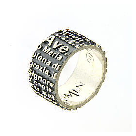 AMEN ring in 925 sterling silver, burnished with Hail Mary prayer s1
