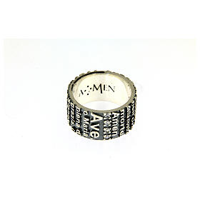 AMEN ring in 925 sterling silver, burnished with Hail Mary prayer s2