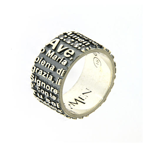 AMEN ring in 925 sterling silver, burnished with Hail Mary prayer 1