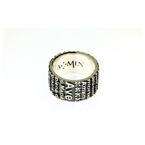 AMEN ring in 925 sterling silver, burnished with Hail Mary prayer 2