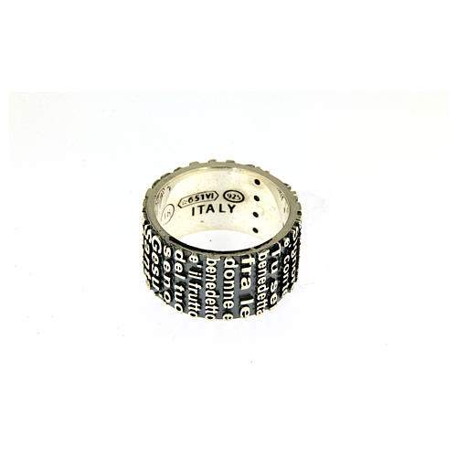 AMEN ring in 925 sterling silver, burnished with Hail Mary prayer 3