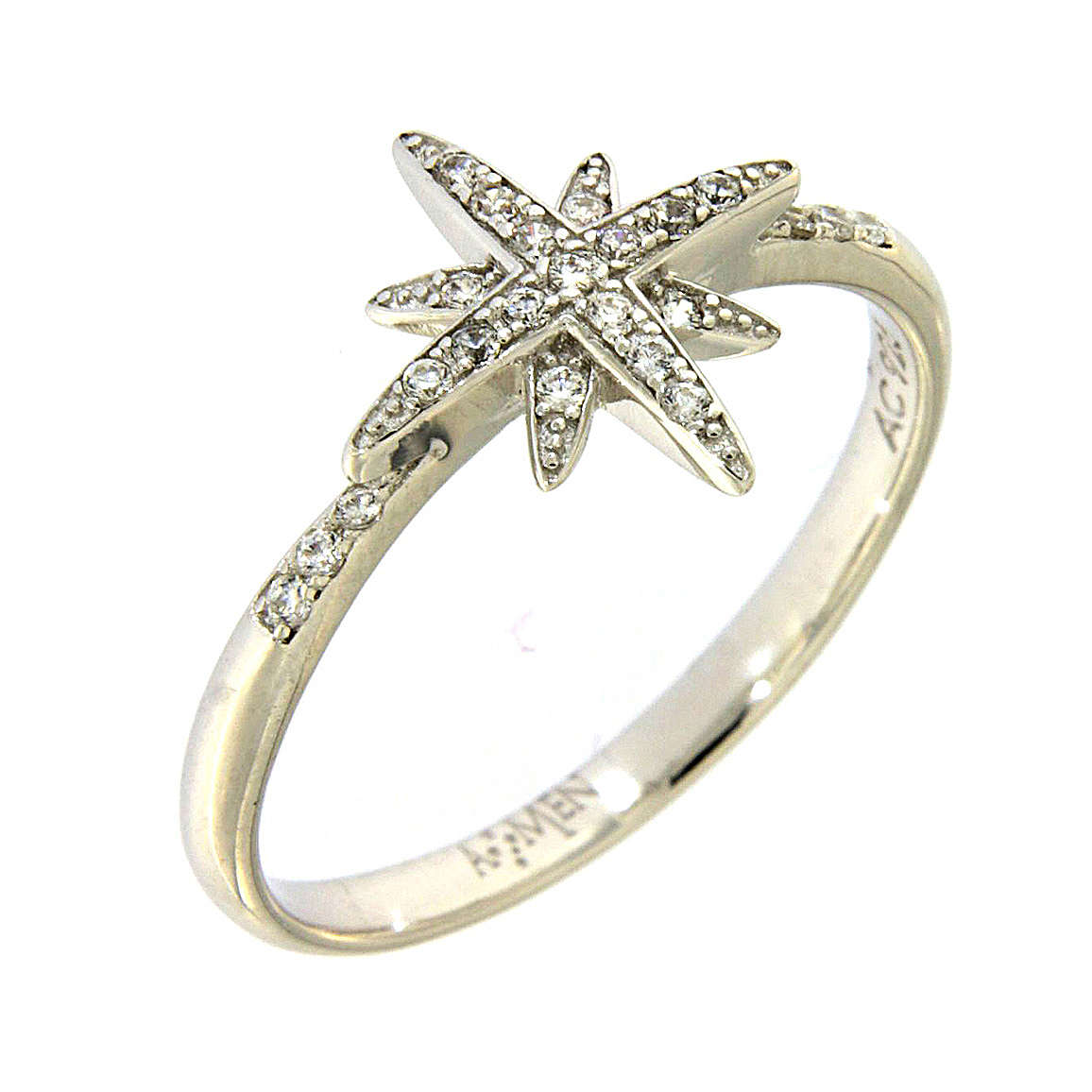 AMEN 925 sterling silver ring finished in rhodium with zirconate star 3