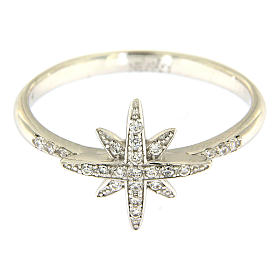 AMEN 925 sterling silver ring finished in rhodium with zirconate star s2