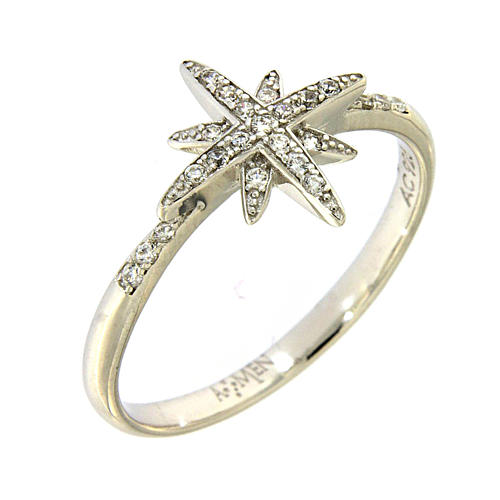AMEN 925 sterling silver ring finished in rhodium with zirconate star 1