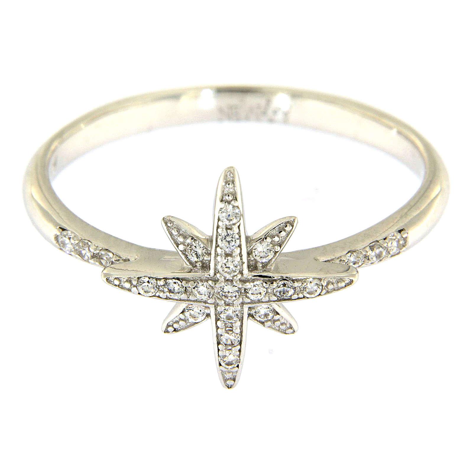 Pierścionek AMEN ze srebra 925 rodowanego z gwiazdą z cyrkoniami 3