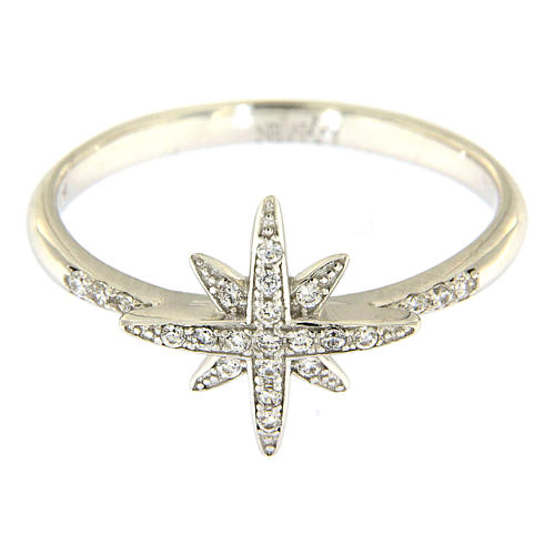 AMEN 925 sterling silver ring finished in rhodium with zirconate star 2