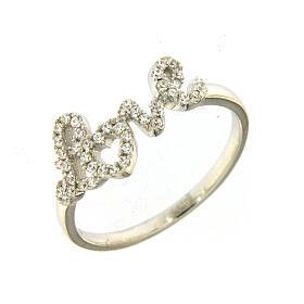 Ring AMEN Silber 925 Schrift Love mit Zirkonen s1