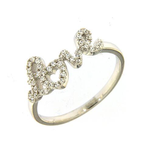 Ring AMEN Silber 925 Schrift Love mit Zirkonen 1