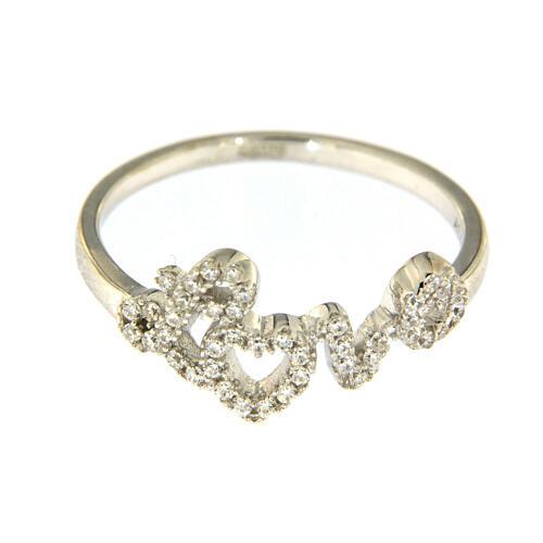 Ring AMEN Silber 925 Schrift Love mit Zirkonen 2