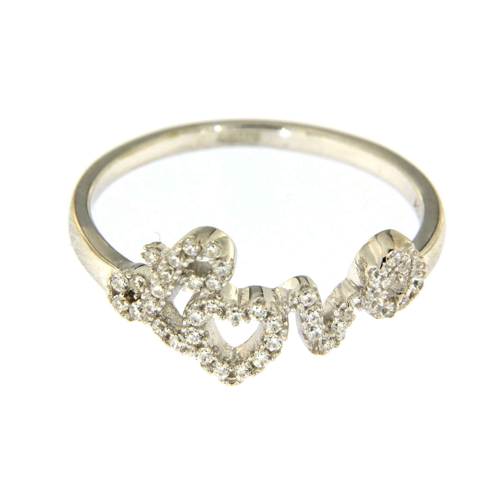 AMEN 925 sterling silver ring finished in rhodium with zirconate love writing 3