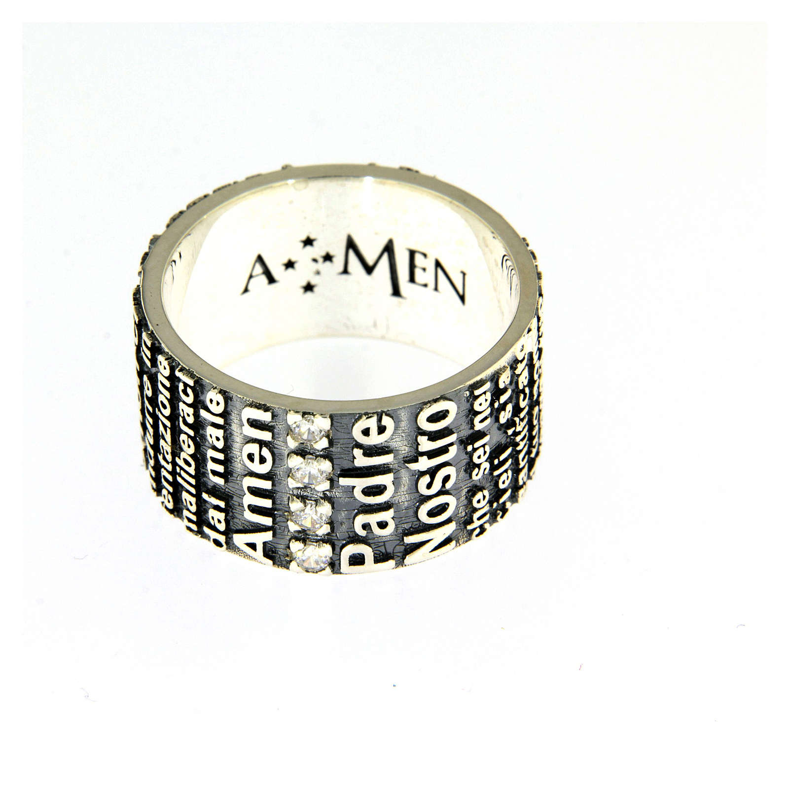 Amen ring in 925 sterling silver, burnished, with Our Father prayer 3