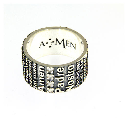 Amen ring in 925 sterling silver, burnished, with Our Father prayer 2