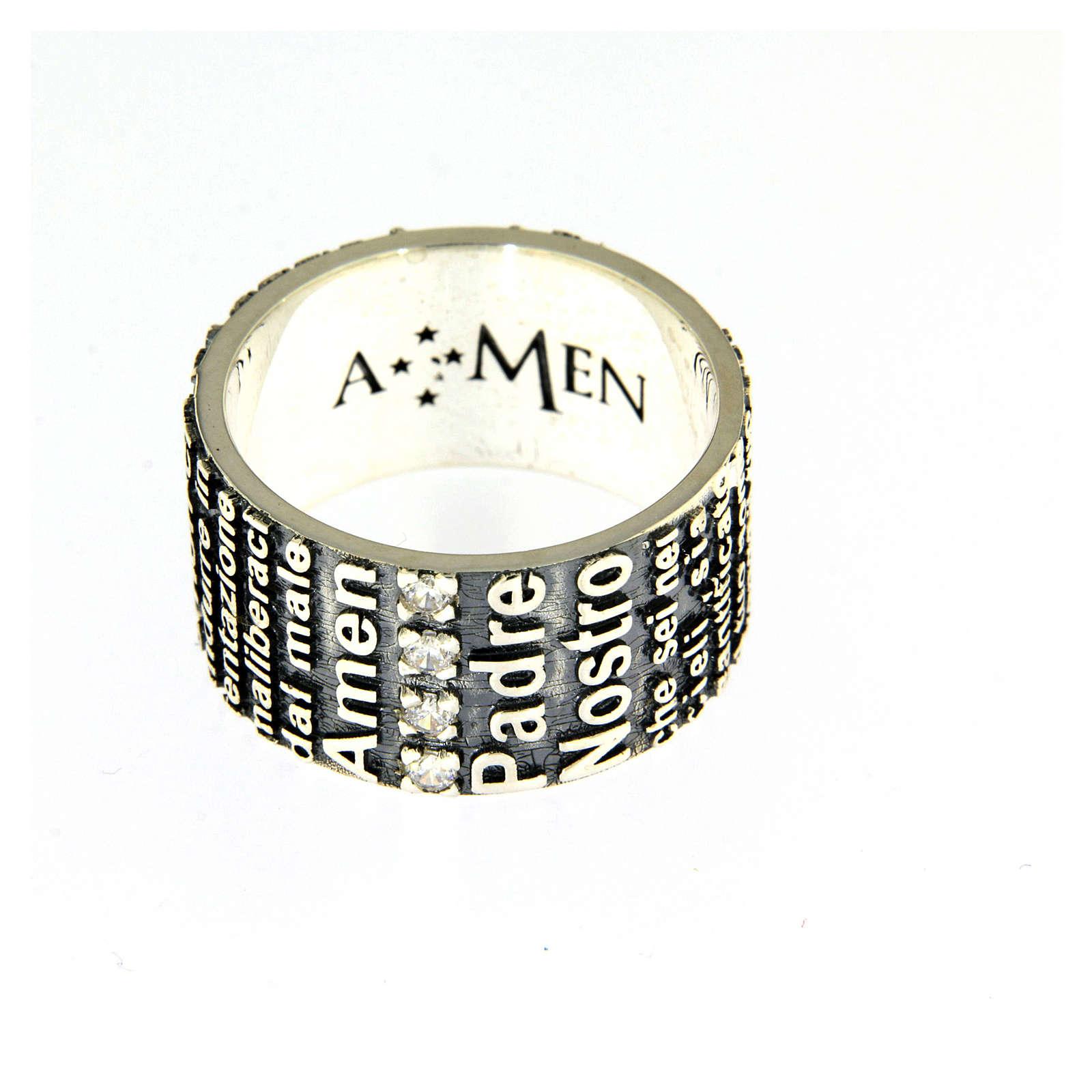 Anel AMEN prata 925 radiada brunida com oração Pai Nosso ITA 3
