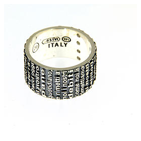 Anel AMEN prata 925 radiada brunida com oração Pai Nosso ITA s3