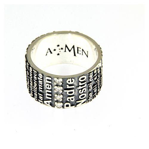 Anel AMEN prata 925 radiada brunida com oração Pai Nosso ITA 2