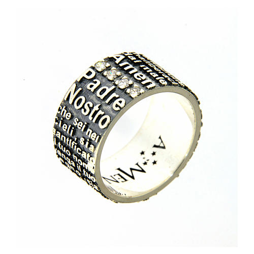 Amen ring in 925 sterling silver, burnished, with Our Father prayer 1