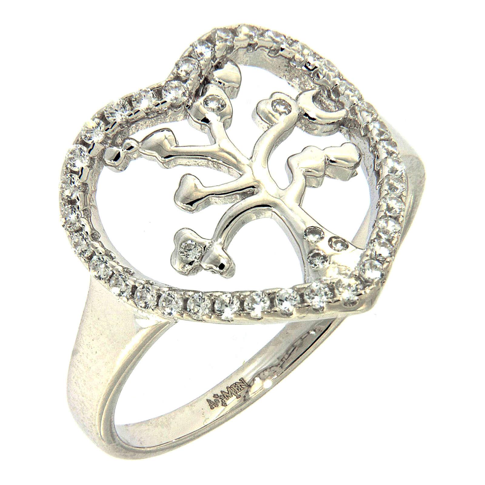 Ring AMEN Silber 925 Lebensbaum in Herz Rand 3