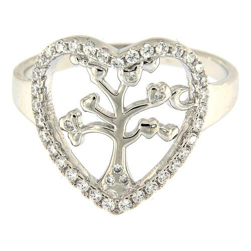 Ring AMEN Silber 925 Lebensbaum in Herz Rand 2