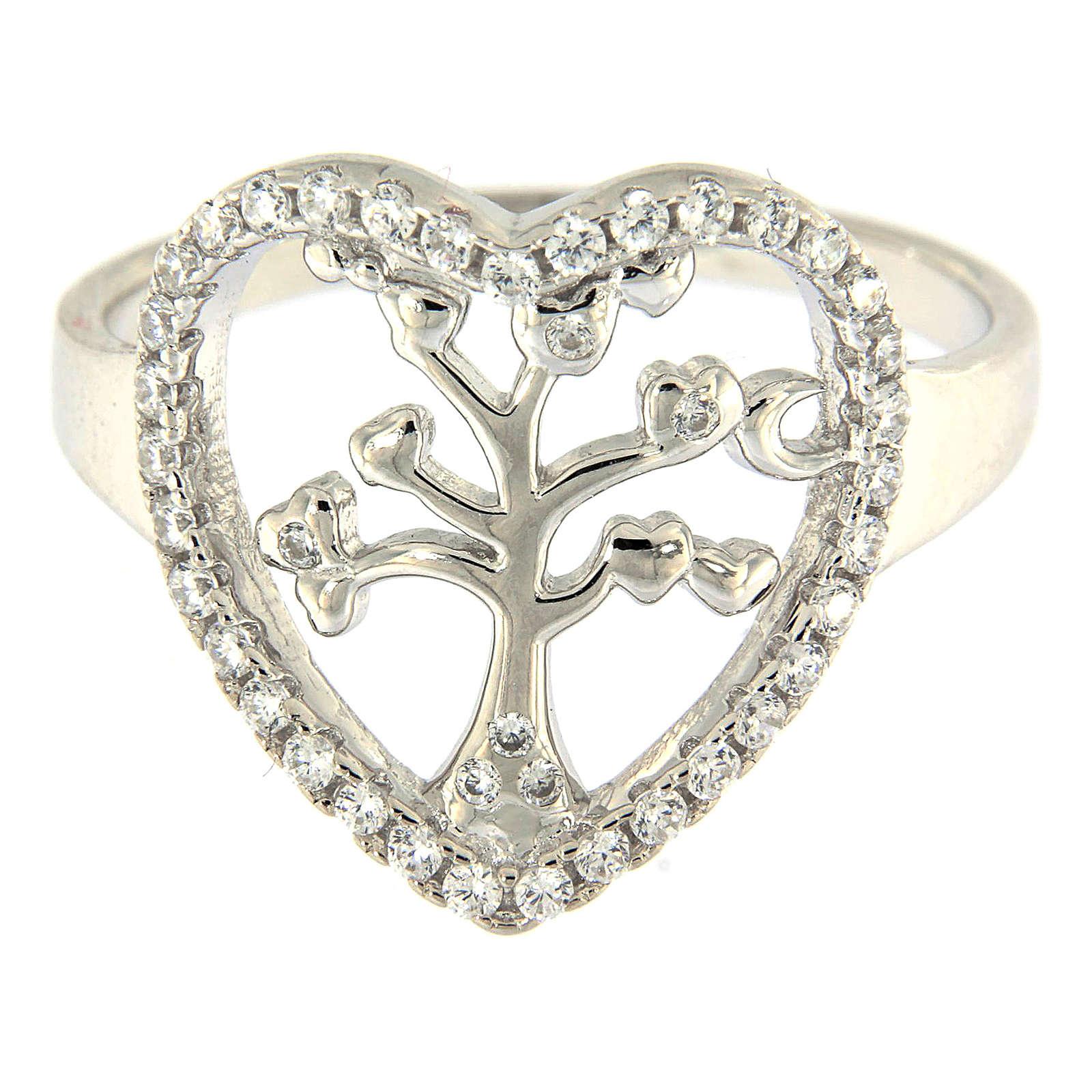 Anillo Plata 925 AMEN rodiada con corazón zirconado y árbol 3