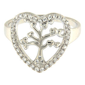 Anillo Plata 925 AMEN rodiada con corazón zirconado y árbol s2