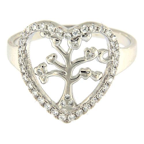 Anillo Plata 925 AMEN rodiada con corazón zirconado y árbol 2