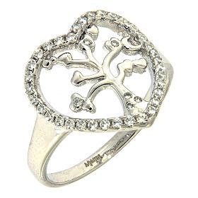 Anel prata 925 AMEN radiada com coração em zircões e árvore s1