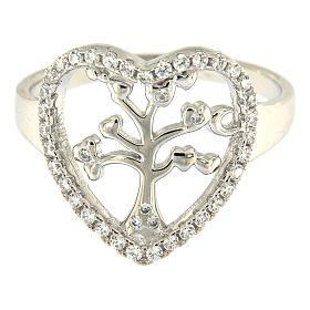 Anel prata 925 AMEN radiada com coração em zircões e árvore s2