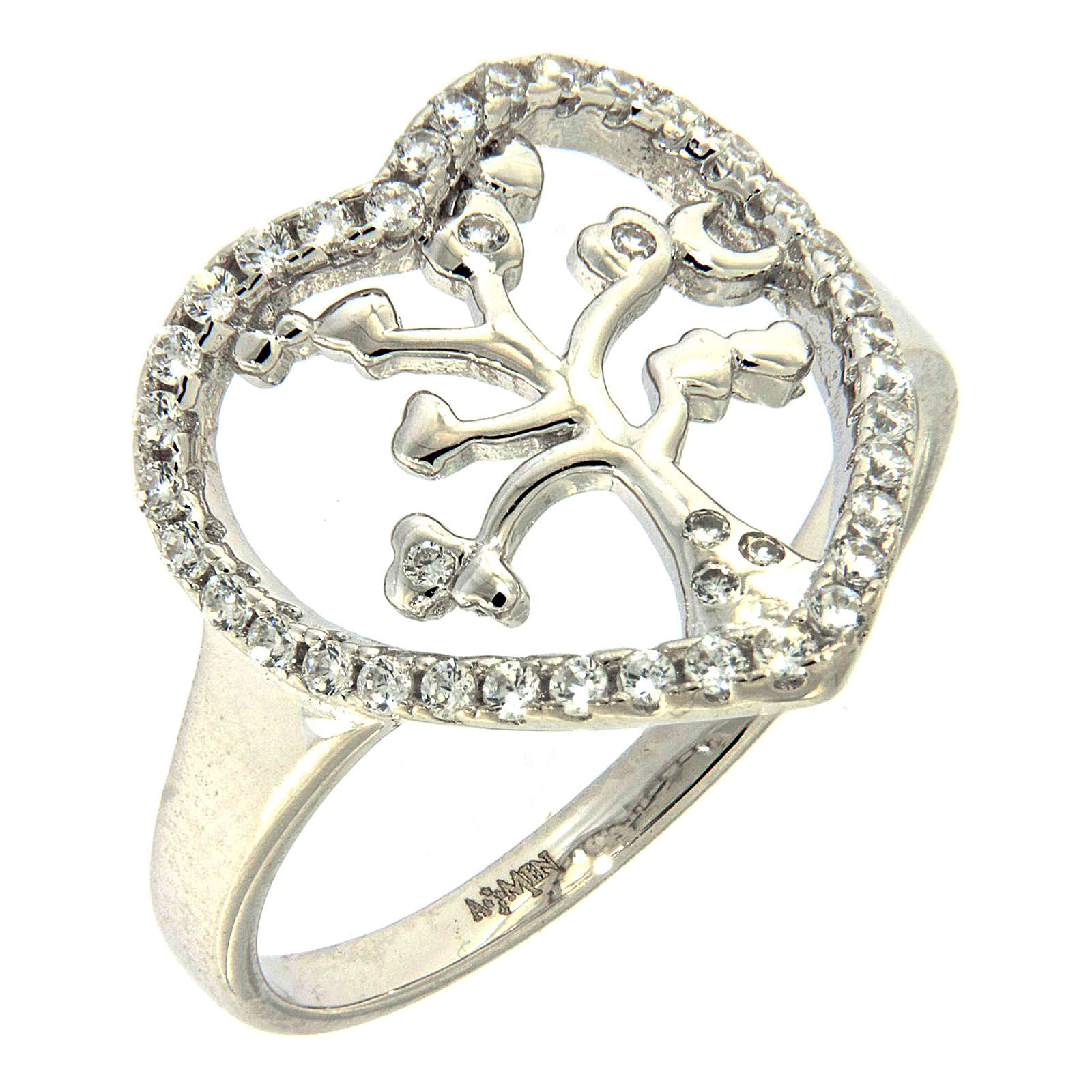 AMEN ring in 925 sterling silver finished in rhodium with zirconate heart and tree 3