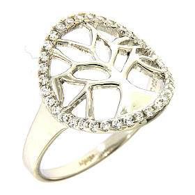 Prayer rings: AMEN 925 sterling silver ring finished in rhodium with zirconate circle and tree