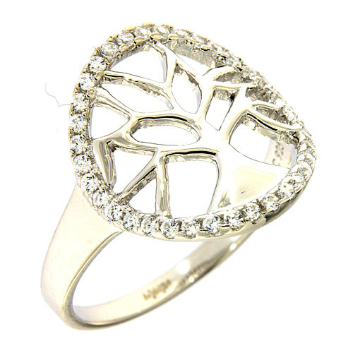 AMEN 925 sterling silver ring finished in rhodium with zirconate circle and tree 1
