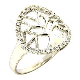 Anel AMEN prata 925 radiada com círculo em zircões e árvore s1