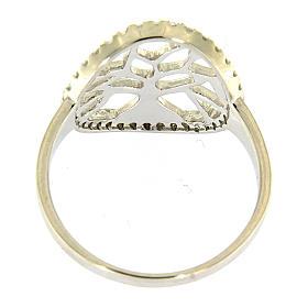 Anel AMEN prata 925 radiada com círculo em zircões e árvore s3