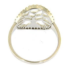 AMEN 925 sterling silver ring finished in rhodium with zirconate circle and tree s3