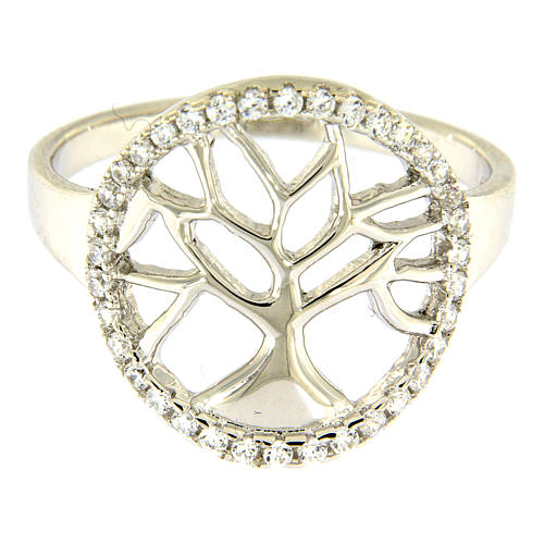AMEN 925 sterling silver ring finished in rhodium with zirconate circle and tree 2