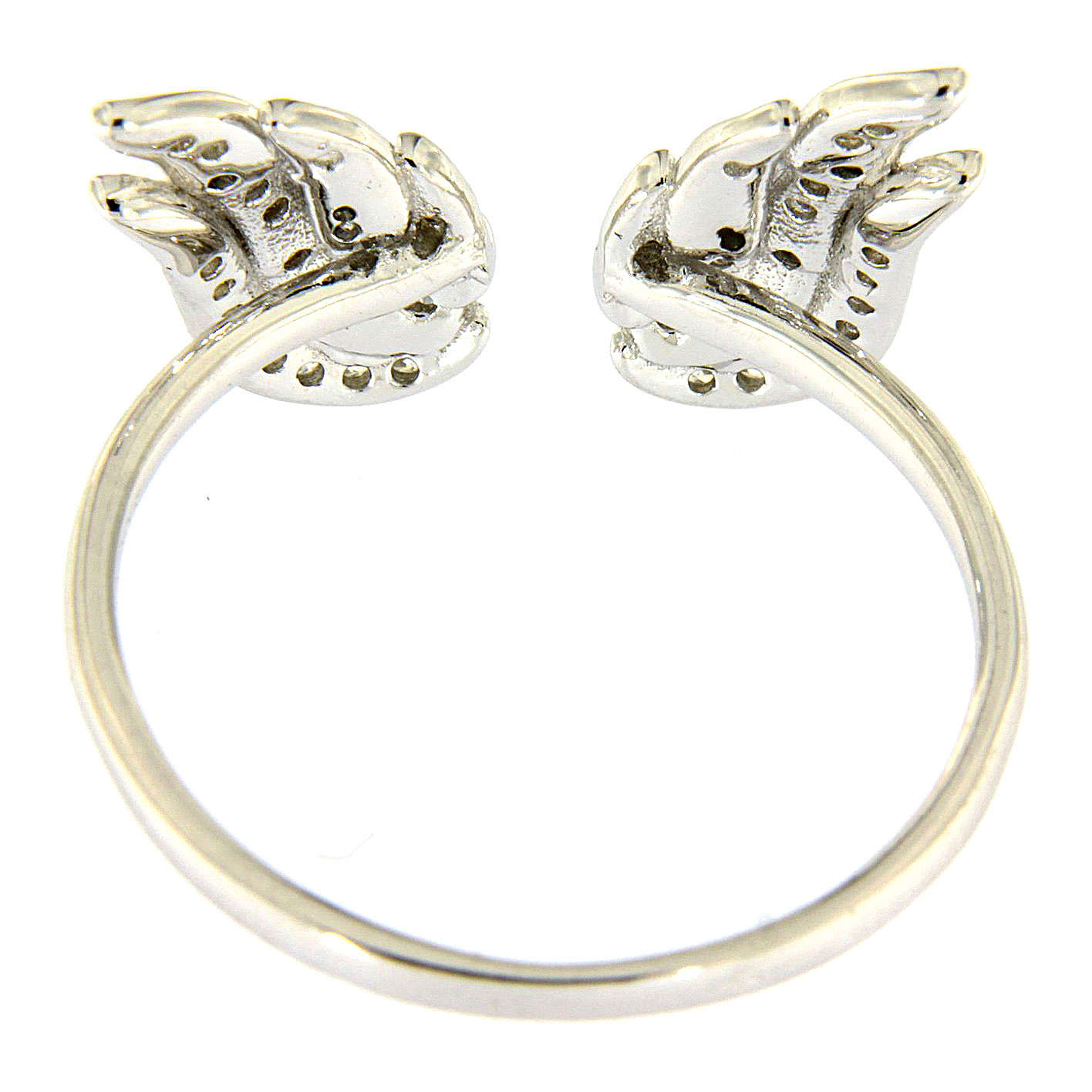AMEN 925 sterling silver ring finished in rhodium with zirconate wings 3