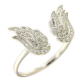 Prayer rings: AMEN 925 sterling silver ring finished in rhodium with zirconate wings