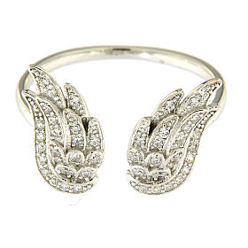 AMEN 925 sterling silver ring finished in rhodium with zirconate wings s2