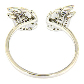 AMEN 925 sterling silver ring finished in rhodium with zirconate wings s3