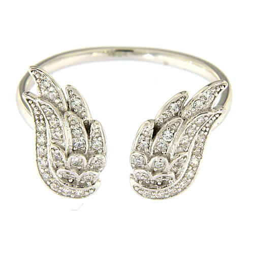 AMEN 925 sterling silver ring finished in rhodium with zirconate wings 2