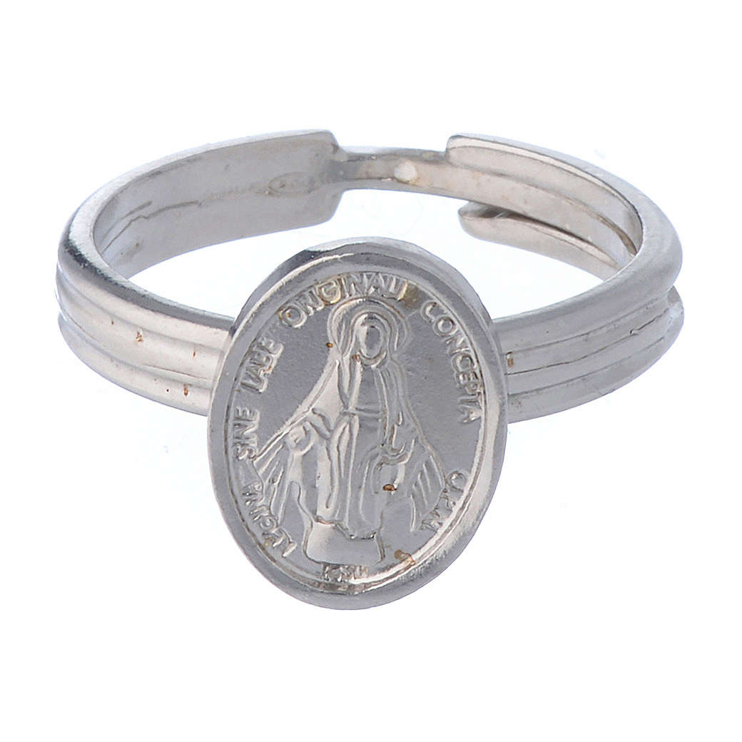 Miraculous Medal ring in 925 silver, adjustable size 3