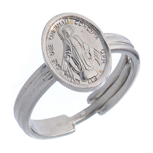 Miraculous Medal ring in 925 silver, adjustable size 1
