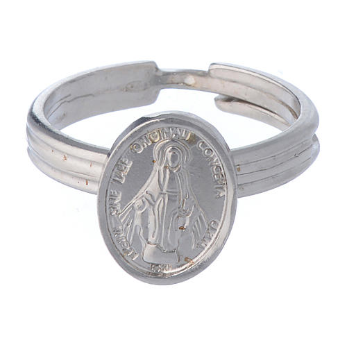 Miraculous Medal ring in 925 silver, adjustable size 2
