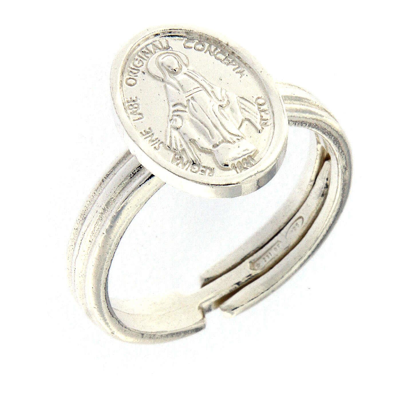 Anillo Medalla Milagrosa plata 925 ajustable 3