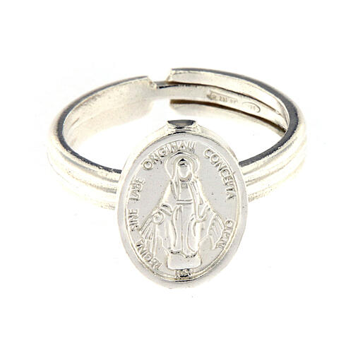Anillo Medalla Milagrosa plata 925 ajustable