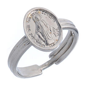 Sterling silver adjustable ring with Miraculous Medal s1