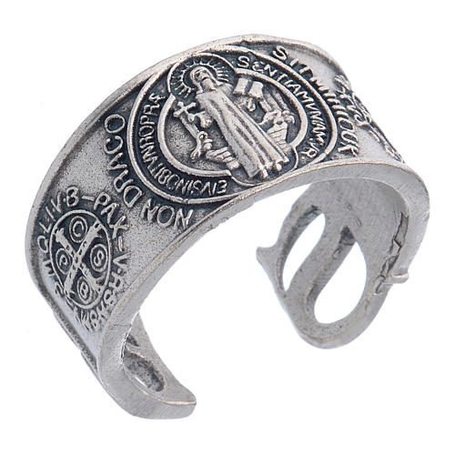 Zamak ring with Saint Benedict image 1