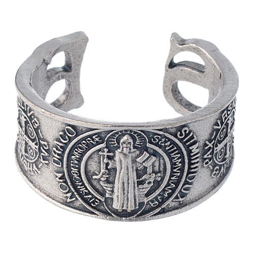 Zamak ring with Saint Benedict image 2